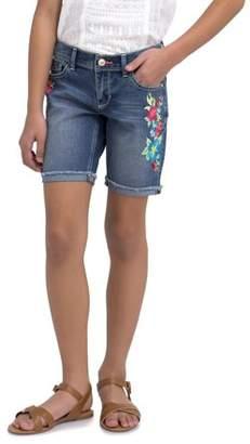 Jordache Girls' Floral Embroidered Bermuda Denim Short