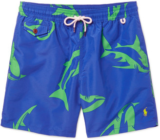 Polo Ralph Lauren Traveler Mid-Length Shark-Print Swim Shorts $70 thestylecure.com