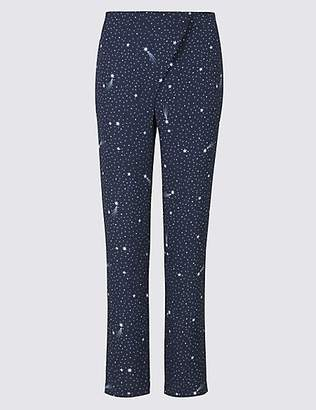 Twiggy Star Print Tapered Leg Wrap Front Trousers