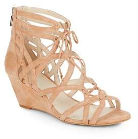 Dylan Suede Cage Wedge Sandals $130 thestylecure.com