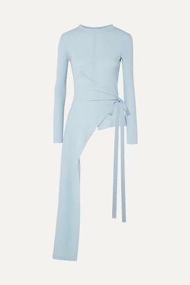 Rosetta Getty Draped Asymmetric Stretch-cotton Jersey Wrap Top - Sky blue