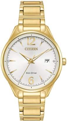 Citizen Analog Swarovski Crystal Marker Goldtone Bracelet Watch