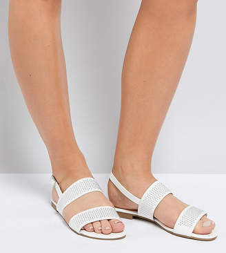 Truffle Collection Wide Fit Studded Flat Sandal