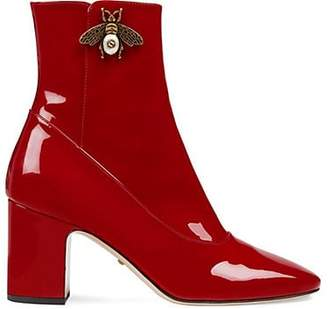 Gucci Women's Patent Leather Ankle Boots - Red
