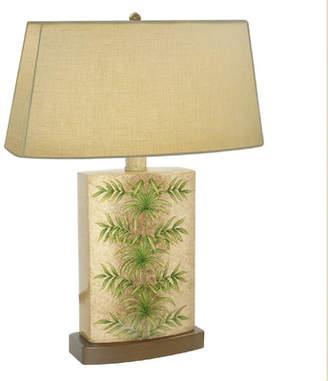 Hirsch JB Areca Palm Leaf Hand Painted Porcelain 28 Table Lamp