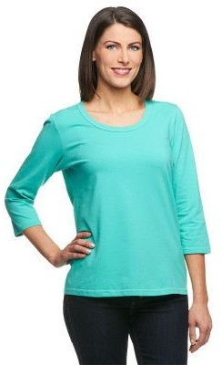 Denim & Co. Essentials Perfect Jersey 3/4 Sleeve Round Neck Top