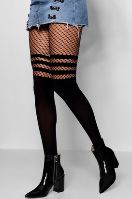 boohoo Sports Stripe Mock Hold Up Fishnet Tights