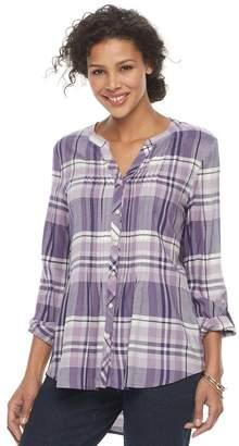 Croft & Barrow Women's Plaid Pintuck Shirt