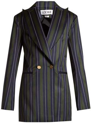 Loewe Striped double-breasted wool-blend blazer