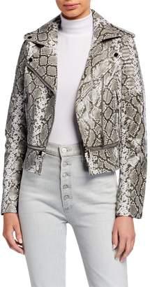 P. Luca Snake Print Faux Leather Moto Jacket