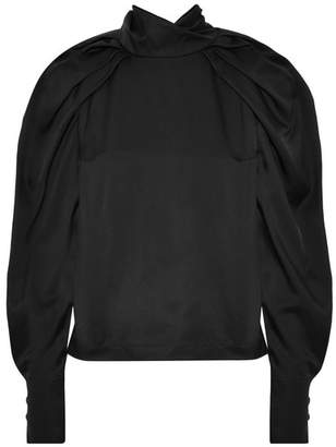 Carven Satin-twill Blouse - Black