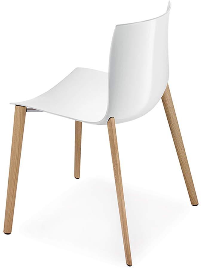 Arper - Catifa 46 Stuhl mit Holz-Vierfußgestell, Eiche natur/ Weiß