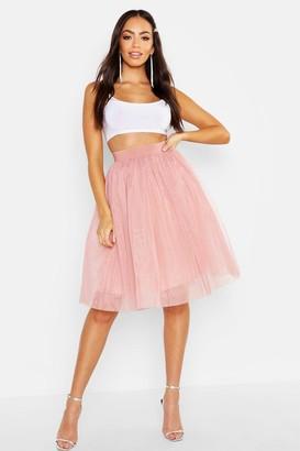 boohoo Full Tulle Mesh Midi Skirt