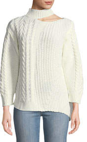 Cold-Shoulder Asymmetric Cable-Knit Sweater