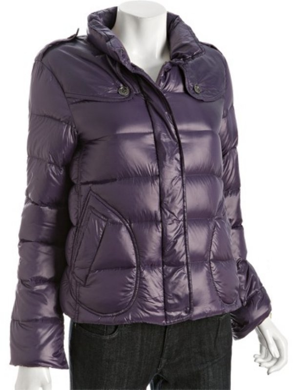 Burberry Burberry London purple nylon down stand collar short jacket