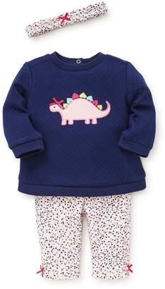 Little Me Dino Quilted Sweatshirt, Leggings & Headband Set