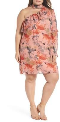 LOST INK Choker One-Shoulder Dress (Plus Size)