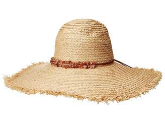 San Diego Hat Company RHL3090OS Raffia Braid w/ Double Stone Trim Sun Brim