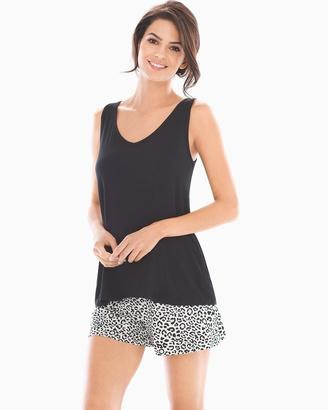 Soma Intimates Tank with Shorts Pajama Set Feline Black