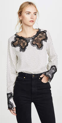 Costarellos Gossamer Lace Yoke Blouse