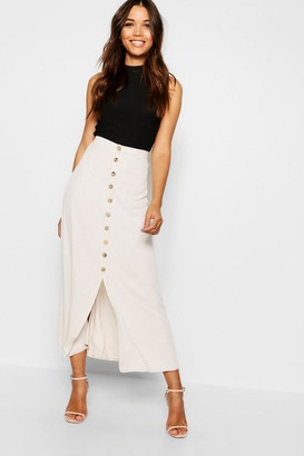 boohoo Mock Horn Button Through Midi Skirt