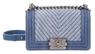 Pre Owned At Therealreal Chanel Chevron Denim Small Boy Bag