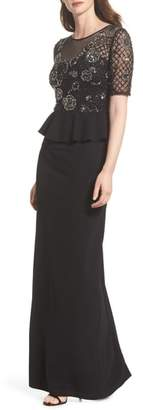 Adrianna Papell Sequin Peplum Waist Column Gown