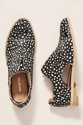 All Black Dotted Calf Hair Oxford Loafers