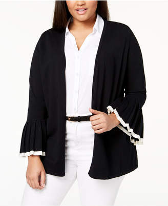 Charter Club Plus Size Tipped-Sleeve Cardigan, Created for Macy's