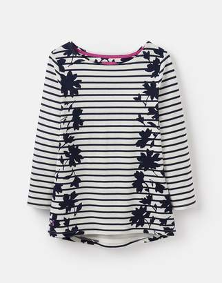 d9d519da8b8 Joules Navy Border Floral 207611 Printed Jersey Top Size 14