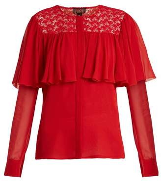 Giambattista Valli Ruffle Trimmed Silk Georgette Blouse - Womens - Red