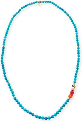 """Neiman Marcus Akola Long Turquoise Beaded One-Strand Necklace, 36"""""""