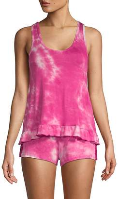 Betsey Johnson Women's Two-Piece Tie-Dyed Shorty Pajama Set