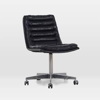 west elm Leather Upholstered Swivel Desk Chair - Black