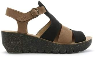Fly London Yuni Multicoloured Leather Cleated Wedge Sandals