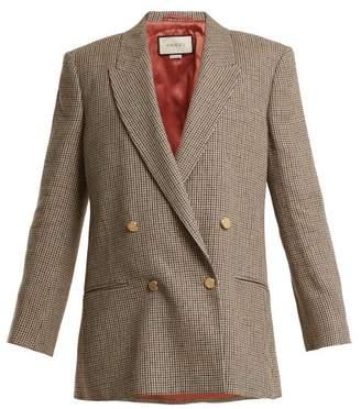 Gucci - Double Breasted Checked Linen Blazer - Womens - Brown Multi