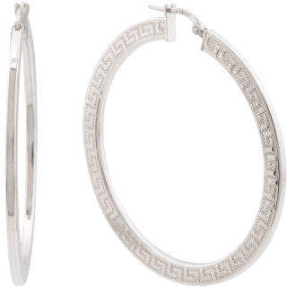 Made In Italy Sterling Silver Greek Key Hoop Earrings
