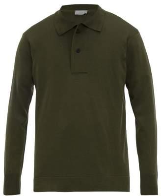 Margaret Howell Long Sleeved Wool Jersey Polo Shirt - Mens - Khaki