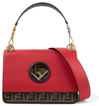 Fendi Kan I Embossed Leather Shoulder Bag - Red