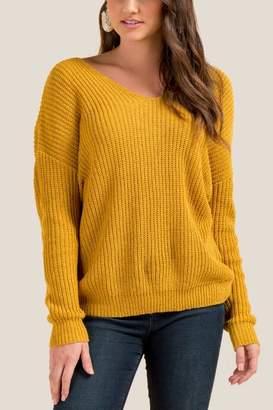 francesca's Karly Knot Back Pullover Sweater - Sunshine