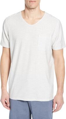 Daniel Buchler Thin Stripe V-Neck Stretch Cotton & Modal T-Shirt