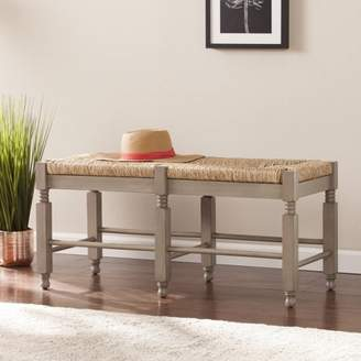 Southern Enterprises Kuskyn Seagrass Bench/Coffee Table, Antique Dove Gray