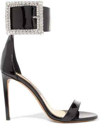 Alexandre Vauthier Yasmin Swarovski Crystal-embellished Patent-leather Sandals - Black
