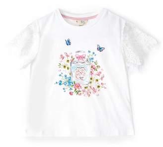 Yumi Girl - Girl White Perfume Print Lace T-Shirt