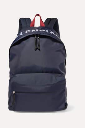 Balenciaga Wheel Embroidered Shell Backpack - Navy