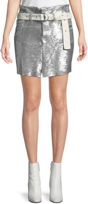IRO Natou Belted Sequined Mini Skirt