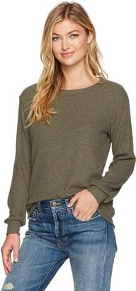Michael Stars Women's Madison Brushed Sweaterrib Long Sleeve Scoop Neck Pullover