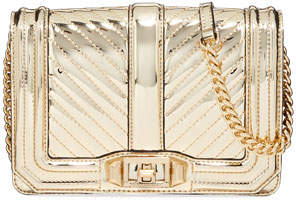 Rebecca Minkoff Love Small Chevron Quilted Crossbody Bag, Gold