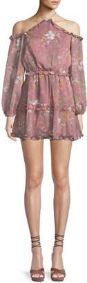 Tularosa Donna Floral-Print Ruffle Off-Shoulder Halter Dress