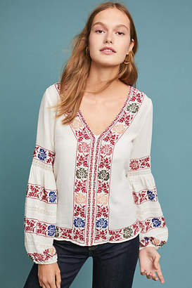 Love Sam Amity Embroidered Peasant Top